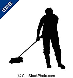 Janitor man silhouette sweeping