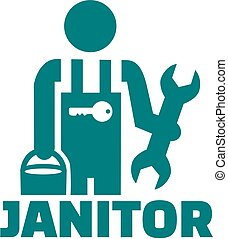 Janitor pictogram job title - Janitor pictogram with job...