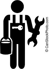 Janitor pictogram with tools - Janitor pictogram black and...