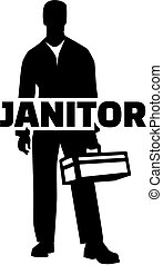 Janitor silhouette job title - Silhouette of a janitor with...