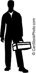 Janitor silhouette toolbox - Silhouette of a janitor with...