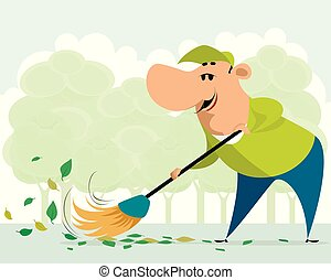 Janitor sweeping on the street
