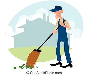Janitor sweeping the yard