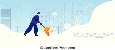 Janitor throwing snow in city park