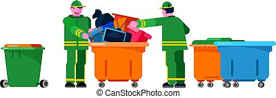 Janitor wiper yardman people sorting trash can vector bin recycle electronic waste garbage illustration. rubbish container household rubbish ewaste recycling. Green jacket Janitor wiper yardman