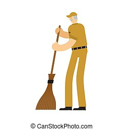 Janitor with broom. service worker man. Cleaner man. swabber