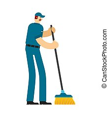 Janitor with sweeping brush. Service worker man. Cleaner man. swabber