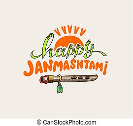 janmashtami celebration logo design with clay pot with sour...