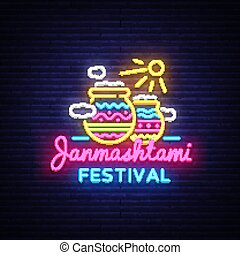 Janmashtami festival neon sign vector design template....