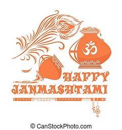 Janmasthami logo icon. Vector ilustration - Janmasthami logo...