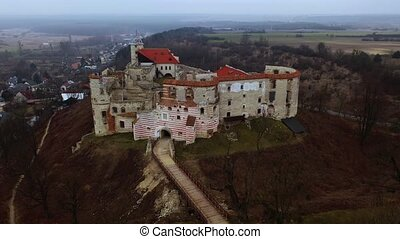 janowiec, architecture, jour, renaissance, style, pologne, printemps, château, ensoleillé