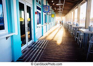 jantando área, e, negócios, ligado, a, cais, em, daytona, praia, flórida