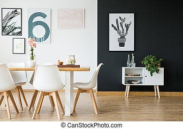 jantando quarto, com, plantas
