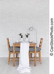 jantando tabela, coberto, em, branca