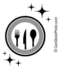 jantar, ícone, com, cozinha, mercadoria