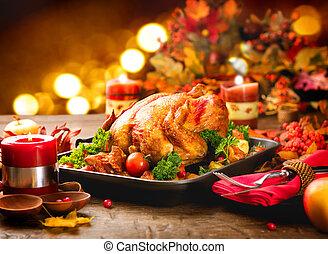 jantar ação graças, tabela, servido, com, peru, decorado,...