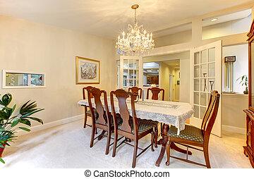jantar, americano, clássicas, sala, interior.