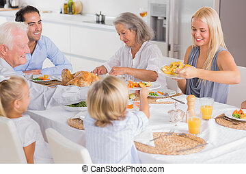 jantar, comer, ação graças, família, feliz