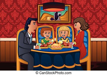 jantar, comer, família, junto