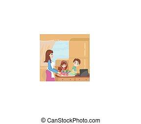 jantar, cozinhar, família