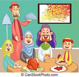 jantar, desfrutando, família, muçulmano, feliz