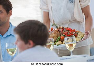 jantar, durante, família