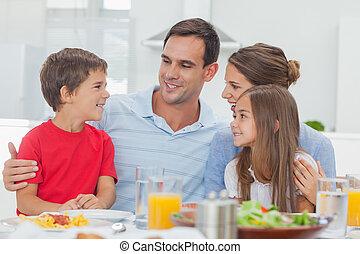 jantar, durante, família, feliz