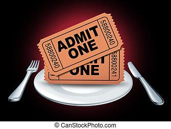 jantar, e, um, mostrar