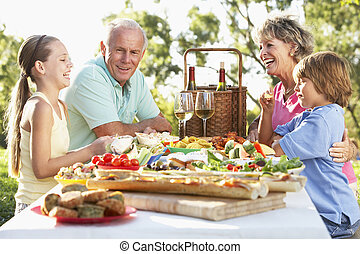 jantar, fresco, al, família