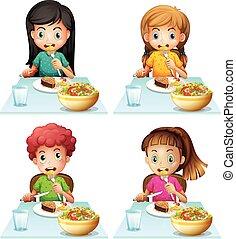 jantar, menino, comer, tabela, meninas