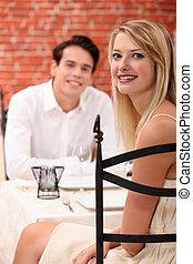 jantar, mulher, homem, restaurante