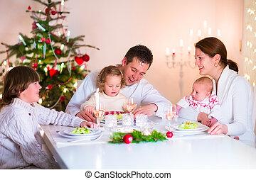jantar, natal, família, feliz