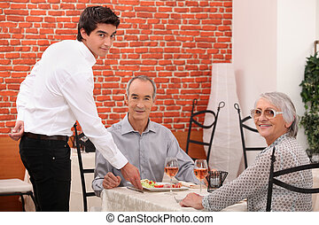 jantar, par, idoso