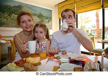 jantar, pequeno almoço, família