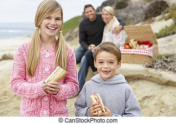 jantar, praia, fresco, al, família