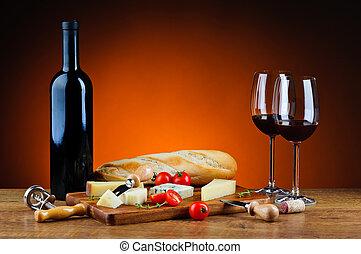 jantar romântico, com, queijo, e, vinho