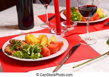 jantar romântico, com, velas