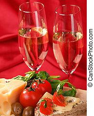 jantar romântico, com, vinho