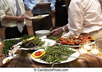 jantar, sendo, servido, em, um, casório
