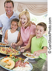jantar, servir, família, mãe