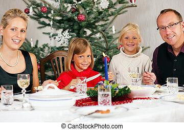 jantar, tendo, natal familiar