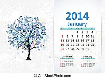 januar, kalender, 2014