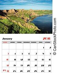 januar, kalender, 2016