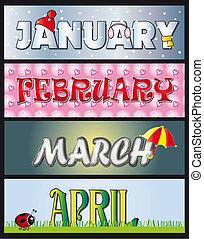 januari, februari, maart, april