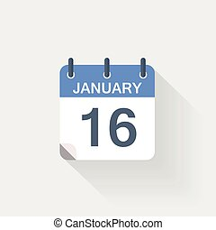 januari, kalender, 16, pictogram