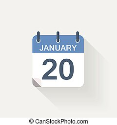 januari, kalender, 20, pictogram