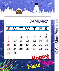 januari, kalender, 2011