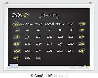januari, kalender, 2012