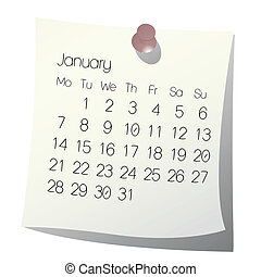 januari, kalender, 2013