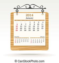 januari, kalender, -, 2014